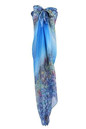 PB-SOAR XXL Mode Damen Sarong Pareo Strandtuch Wickelrock Wickeltuch Schal Halstuch mit Blumenmuster (Blau)