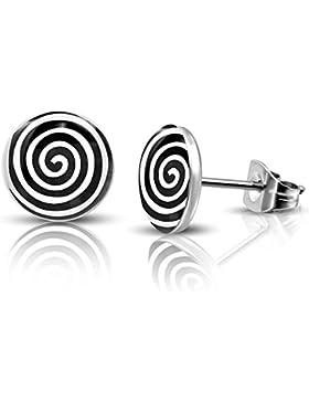 bkwear 1 Paar Ohrstecker OS 33 Spirale Weiß auf Schwarz Ohrringe Edelstahl Stecker 7mm