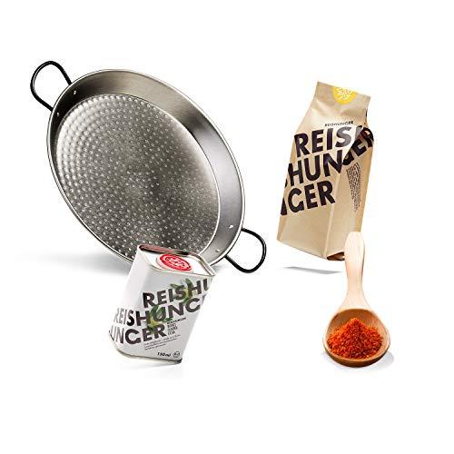 Reishunger Paella Starter Set - Grill Set für echte spanische Paella-Feste, 4-teilig für 4 Personen mit Paellera und Paella Reis [in 3 Größen erhältlich]