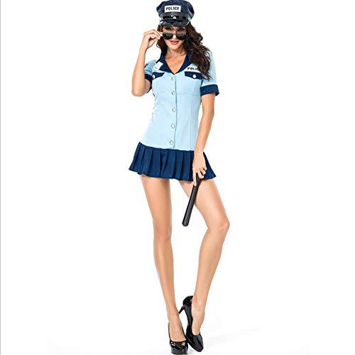 Xingjo Frauen Erotik Kostüm,Hochwertiges Damen Polizei Polizistin Cop Kostüm Uniform Für Mottoparty Damen Catsuit Cocktail Club Abendkleider Partykleid Bühnenkostüm