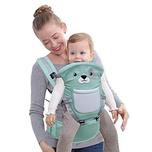 Happy Cherry - Mochila Portabebés Frantal Delantera 10 en 1 con 10 Posiciones Portador Infantil con Asiento de Cadera para Bebés de 0-36 meses - Verde
