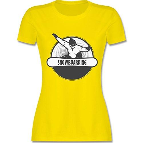Wintersport - Snowboard Fun - tailliertes Premium T-Shirt mit Rundhalsausschnitt für Damen Lemon Gelb