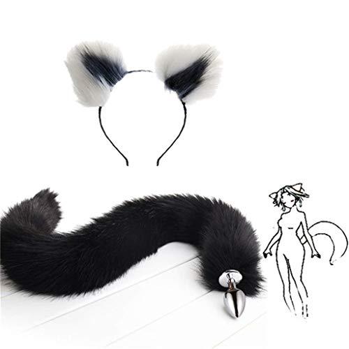 Kostüm Fox Grey - Jjek Cos-Black Fox Metall Schwanz Plüsch und Multicolor Katzenohren Glamour Weibliche Maskerade Requisiten 2 stücke Set Massage Cosplay Kostüm Requisiten (Color : White+Grey, Size : S)