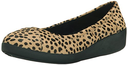 FitFlop F-pop Ballerina, Ballerines plates femme Multicolore (Cheetah)
