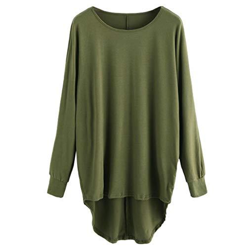 Luckycat Moda para Mujer Casual Color sólido Cuello Redondo Manga Larga  Jersey Suelto Blusa Tallas Grandes dff89d94c13c
