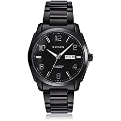 BINLUN Automatic Watches for Men Military Mechanical Black Stainless Steel Waterproof Luminous Calendar Day Date Watch