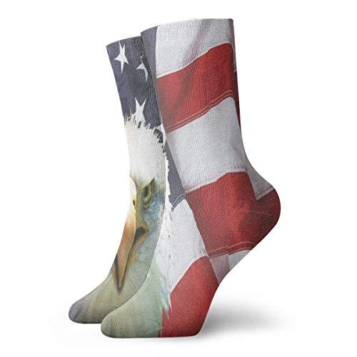 FunnyStar Männer Frauen Crew Socken American Bald Eagle On Flag Athletic Socken Special Anti Bacterial Odor Cushion Short Boot Stocking (American Jungen Eagle Schuhe)