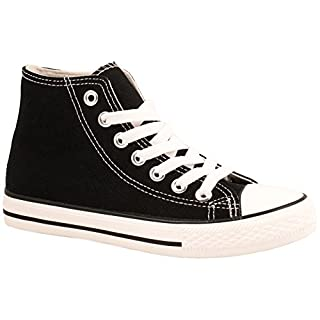 Elara Unisex Kult Sneaker | Bequeme Sportschuhe für Damen und Herren | High Top Textil Schuhe Schwarz 46