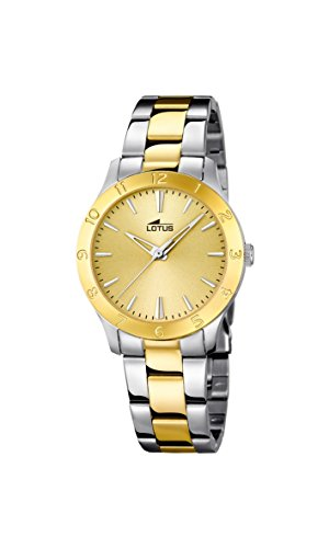 Lotus Women's Quartz Watch with Gold Dial Analogue Display and Two Tone Stainless Steel Plated Bracelet 18139/1