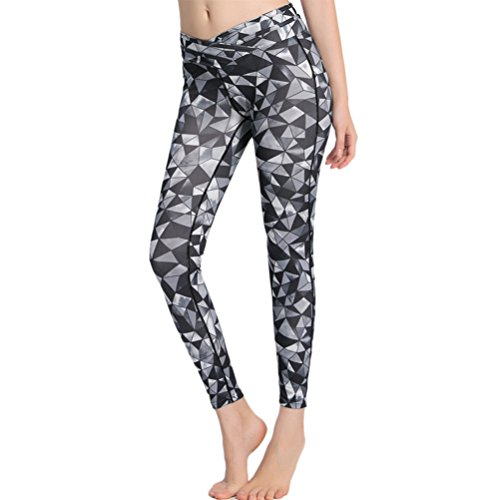 Zhhlinyuan Womens Comfy Sport Yoga Pant Fashion printing Design Tight Pant gray