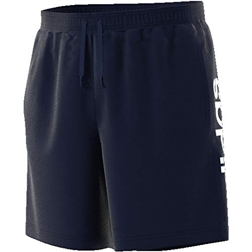 Adidas essentials linear short single jersey, pantaloncini uomo, legend ink/bianco, l