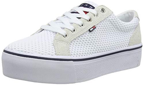 Hilfiger Denim Damen WMN Textile City Sneaker, Weiß (White/Ice 100), 40 EU City-sneaker