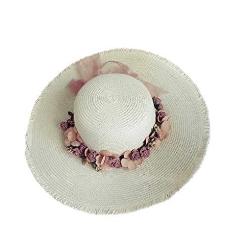 Wide Brim Straw Sonnenhut Frauen-Mädchen-Blumenkranz Frühlings-Sommer-Cap-Strand-Hut Kopfschmuck Kopfbedeckung Regard L