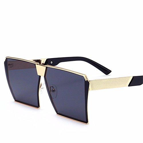Sonnenbrille/Herren Sonnenbrille/Persönlichkeit Runde Gesicht große Rahmen/Sonne Augen, Gold Rahmen schwarz grau Blatt