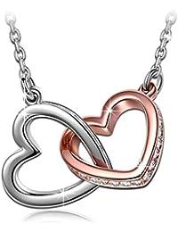 Kami Idea Destino Collar para Mujer con Cristales Swarovski Corazón, Regalos Navidad Viene con Caja de Regalo, sin níquel