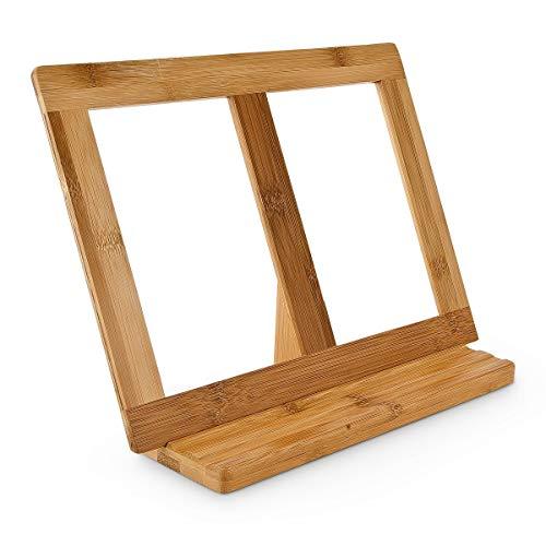 Relaxdays Buchstütze Bambus H x B x T: ca. 23,5 x 32 x 12 cm Buchständer für Koch- und Backbücher Buchhalter als Leseständer und Notenständer Kochbuchhalter für dicke Bücher Rezepthalter Holz, natur - Für Rezept-halter Ipad