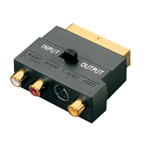 MXECO SCART Adattatore Blocco AV a 3 RCA Phono composito S-Video con interruttore In/Out Scart su adattatore SVHS per videoregistratore DVD