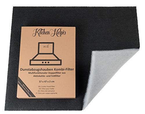Kitchen Helpis® Dunstabzugshauben Kombifilter - Aktivkohle UND Fettfilter in einem, Doppelfilter 57x47 cm, Dunstabzugshauben-Filter, Aktivkohlefilter Dunstabzugshaube, Fettfilter Dunstabzugshaube