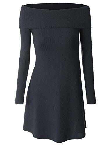 Wenseny Lange Ärmel Kleid Für Damen Trägerlos Jahrgang Beiläufig Midi Kleid Hochzeit Partei Navy Blau