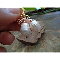 ᵒᴼᵒₒₒᵒᴼᵒ PERLA BAROCCA IN ORO ᵒᴼᵒₒₒᵒᴼᵒ orecchini unici con perle d'acqua dolce, traccia di crescita visibile oro, bianco