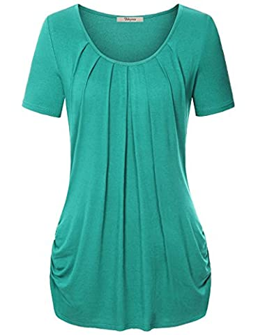 Pleated Tops for Women,Bebonnie Women's Round Neck Short Sleeve Tunic