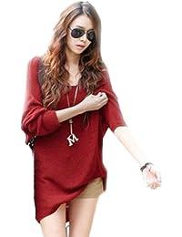 Dayiss® Damen V-Ausschnitt Feinstrickpullover Rot/Orange mit Fledermausärmeln