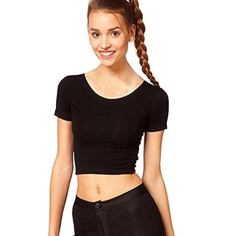 Chemise Femme, Kolylong® ÉTé Manches Courtes Femmes Sexy Basic T-Shirts Tops RecadréE T-Shirt Blouse (Noir)