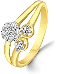 Classic Floral Diamond Studded Gold Plated Alloy & Brass Cz American Diamond Finger Ring For Women & Girls [CJFR1254G]