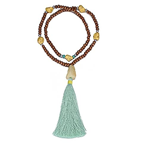 eManco Tibetan Ethnic Mala Long Brown Wood Bead Tassel Stone Pendant Necklace for Women Fashion Jewellery