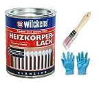 Heizkörperlack weiss inkl. Pinsel zum Auftragen und Nitrilhandaschuhe von E-Com24 (Heizkörperlack weiss 375 ml)