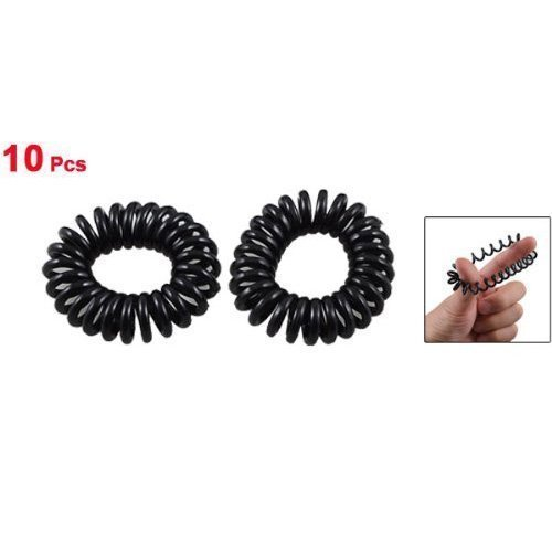 Élastique Cheveux Extensible Plastique Noir Spirale x 10 Pièces