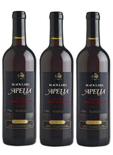 3x Apelia Black Label 750 ml Rotwein lieblich aus Griechenland 11,5 % + 1 Probier Sachets Olivenöl aus Kreta a 10 ml - griechischer roter Wein