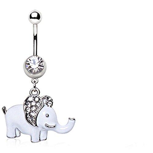 Hängeohrringe Kristall Elefanten süßes Bauchnabel Ring (Dumbo)