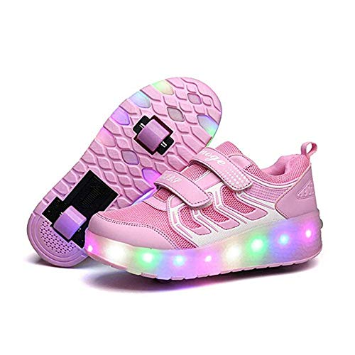 V-Do - Zapatillas de Ruedas con Luces para niñas, Color Rosa, Talla 33 EU