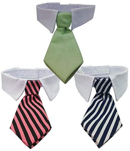 3 Corbatas para perros y gatos Color Verde, Rosa y Negro, Azul y Blanca 38x13 cm lavable a máquina Ideal para una fiesta pone tu cachorro elegante sin renunciar a su comodidad