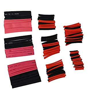 zhang-hongjun,150 Pcs/Heat Shrinkable Tube Insulation Shrinkable Tube Wrapped Wire Sleeve(color:BLACK AND RED)