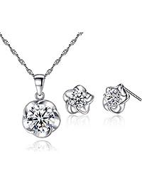 Oneck 925 Sterling Silber Schmuck-Set Ohrringe und Halskette für Damen