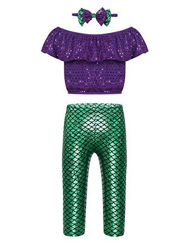ranrann Kinder Kostüm Mädchen Meerjungfrau Kostüm Prinzessin Bekleidung Crop Top mit Hosen Stirnband Outfit Set Fasching Karneval Party Kostüm 86 92 98 104 110 116 Lila & Grün 98-104/3-4Jahre