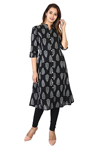 Bright Cotton Black Kurta for Women Printed Leaf Pattern 3/4 Sleeves BCOWN-1LF-42