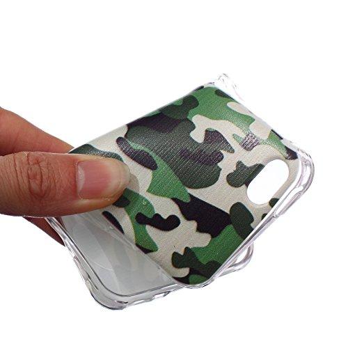 Coque Housse pour iPhone 5c, iPhone 5c Coque Silicone Etui Housse, iPhone 5c Souple Coque Etui en Silicone, iPhone 5 Silicone Transparent Case TPU Cover, Ukayfe Etui de Protection Cas en caoutchouc en Camouflage