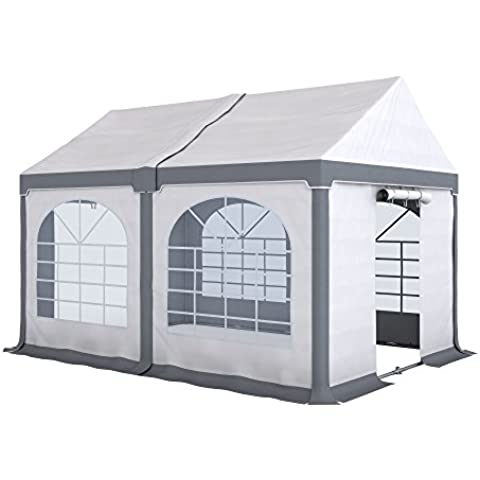 PARAMONDO Tendone per feste ed eventi Partyzelt Flex S, 3 x 4m modulo base, bianco-grigio