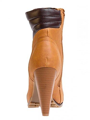 CASPAR Damen klassische Vintage Schnür Stiefeletten / Schnürboots mit Stiletto Absatz - 3 Farben - SBO038 Camel