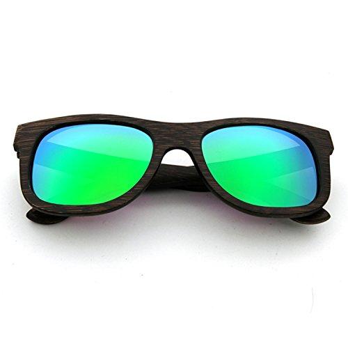 LUI SUI Männer Frauen Retro Holz Polarisierte Sonnenbrille UV Schutz Brillen (Grün)