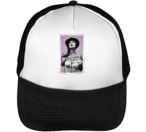 Japanese girl covered inked tattoos collection pin up nice colors cappello snapback nero bianco