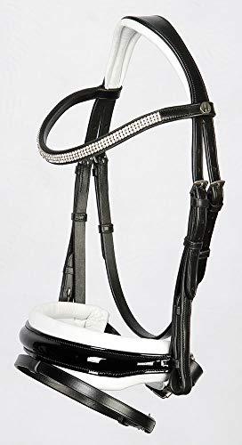 Harry\'s Horse Schwedische Trense Silhouette Leder weich unterlegt (Pony, Schwarz-Weiß)