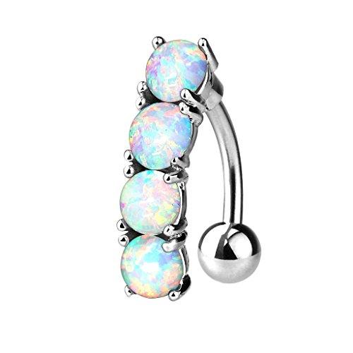 Gebogene Opal Glas (Piersando® Bauchnabelpiercing Piercing Bauch Schmuck Banane Stecker 316 L Chirurgenstahl Stab Gebogen mit 4 Opal Steinen Weiß)