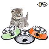 Lefu 3 Piezas de Acero Inoxidable para Mascotas Comida para Gatos Plato de Agua Platos Ancho Plano No Deslizamiento de alimentación Lindo