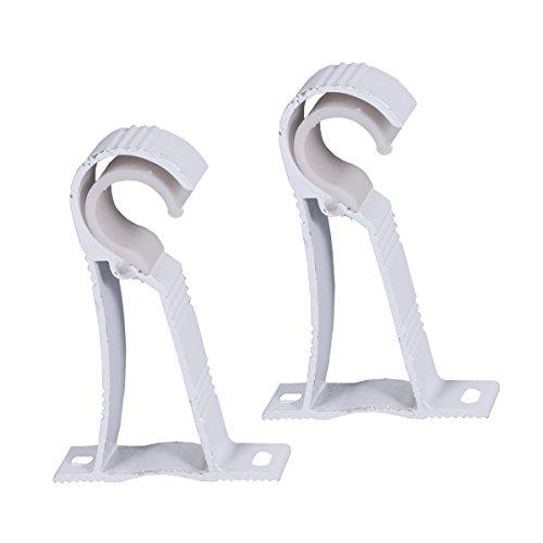 2PCS Vorhang Rod Brackets Roman Stil Rod Drapery Pole Holder Aluminiumlegierung - Weiß