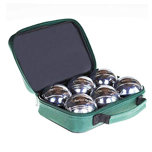 Boule-Set / Boccia Kugeln / Petanque Set | Boule Kugeln MIT Gravur aus Edelstahl mit individuell eingraviertem Namen - in praktischer Tasche zum überall mitnehmen für bis zu 3 Spieler