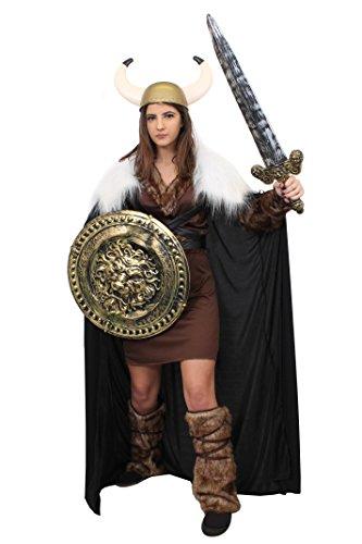 ILOVEFANCYDRESS Ragnar Wikinger Krieger Prinzessin+UMHANG+Schwert +Schild+Goldener Helm= 5 GRÖSSEN = PERFEKT FÜR Game Off Thrones ODER Fasching UND Karneval= (Goldene Krieger Kostüm)